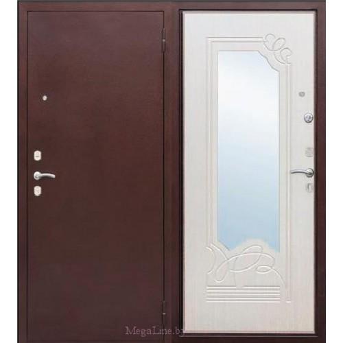 Входные двери Ампир Белый Ясень с зеркалом
